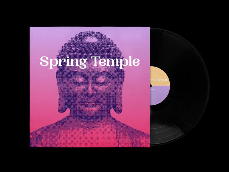Spring Temple single single danielecapelli branding design shadows colors art direction temple spring buddha vinyl music cover artwork
