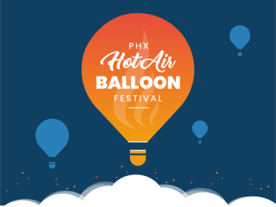 Phoenix Hot Air Balloon Festival icon blue app website web vector typography type minimal lettering illustrator illustration identity graphic design design clean character branding brand art