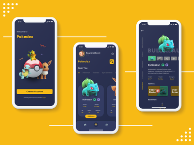 Pokedex design ui ios 10 ios app design ui design pokemon go pokemon