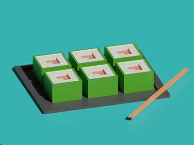 Sushi 3D 3d low poly blender