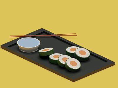 Sushi Platter 3d lowpoly blender3d sushi blender