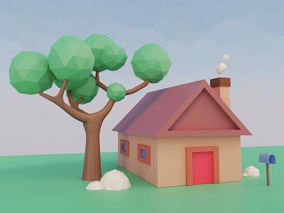 House Scene lowpoly3d 3d art b3d scenery house blender3d blender