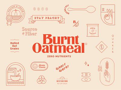 Burnt Oatmeal vancouver breakfast typography branding peach icon linear illustrator vector oatmeal
