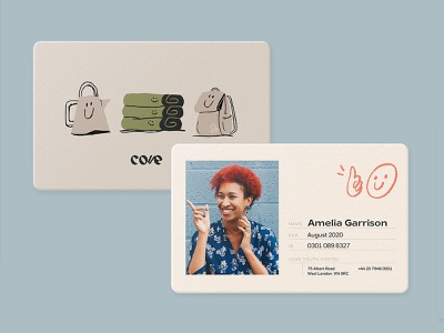 Cove Youth Hostel ID Cards card design identity branding hostel youth identity card illustration