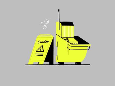 Power Couple cleaning yellow mop janitor procreate illustrator illustration