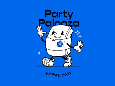 Party Palooza spam musubi hawaii character cartoon art vancouver vector illustrator illustration