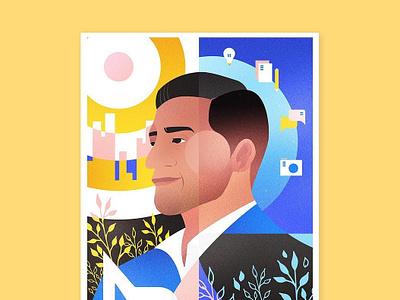 Editorial Portrait newspaper magazine man portrait canada art design illustrator flat vector vancouver illustration