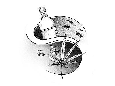 Marijuana vs Alcohol drawing art face eyes leaf spot illustration procreate alcohol marijuana weed
