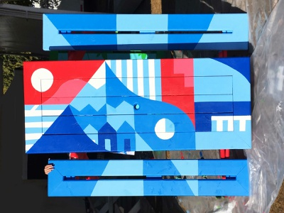 Skookum Mural public art outdoors red and blue geometric art canada vancouver skookum picnic illustration paint mural
