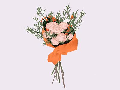Bundled graduation floral orange rose elegant natural flowers leaves bouquet flower procreate art vancouver illustration