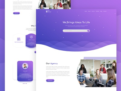 Agency Web Landing Page cool color attractive simple cool psd template psd business uiux web design minimal landing page agency