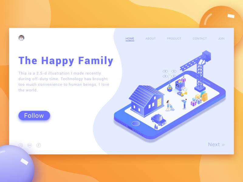 Web Illustrations 2.5d happy happyfamily webpage icon interface ux ui web illustration design