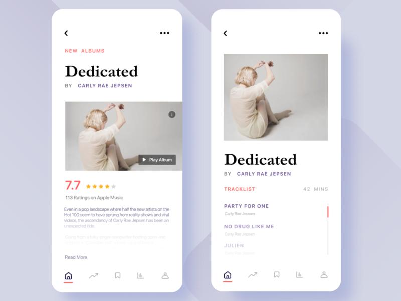 Music App Concept modern ios mobile rating appui design 2018 music app music player trend 2019 trend 2019 music typography app ui design graphic ui ux minimal
