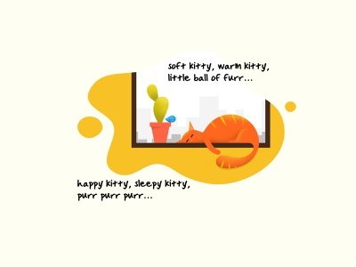 Soft Kitty window small bird big bang theory kitty soft sleeping cactus cat illustration