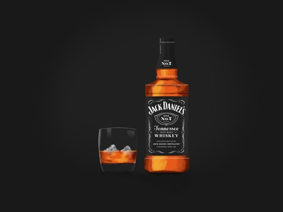 Jack Daniels glasses illustration digital painting glass bottle glass liquor whiskey jack daniels