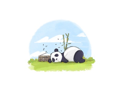 Sleeping Panda panda bear green blue sky sketching illustration cute bamboo music radio sleeping panda
