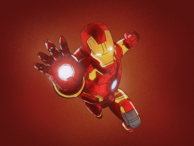 Iron Man yellow red sketching illustration super hero comic character tony stark iron man