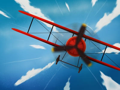 Aeroplane sketch illustration sketching illustraion sky blue red wings rotor flying aeroplane plane