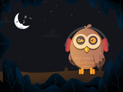 Owl headset dark stars nocturn singing night moon owl