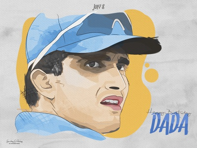 Sourav Ganguly - Fan Art face sports portrait illustration celebrity cricket ganguly sketch