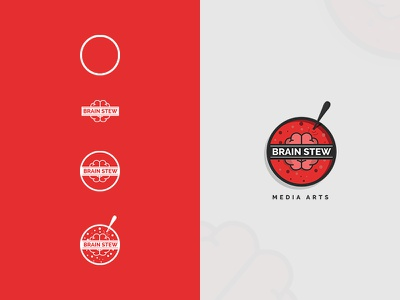 Brain Stew red round logo curry food stew brain