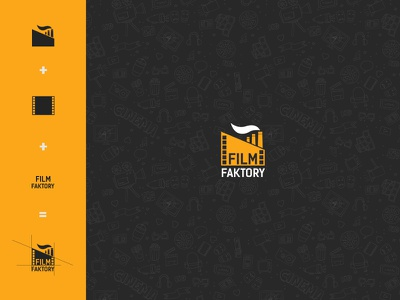 Film Faktory Logo reel film reel yellow garage smoke factory cinema movie film