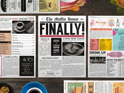 Restaurant Menu Design - Newspaper Theme old vintage design branding newspaper menu design menu restaurant