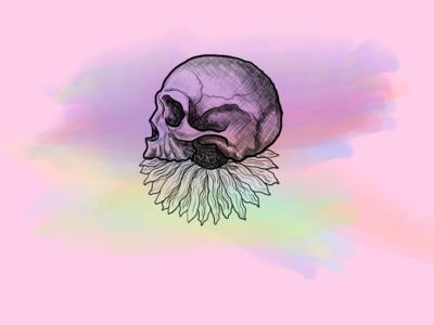 Illustration skull and flower