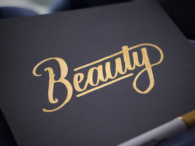 Beauty lettering sharpie gold brush metallic typography hand lettering marker cursive script