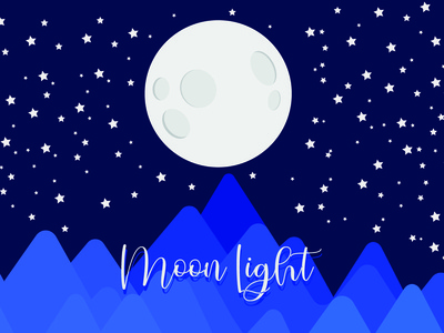 Moon Light lettering vector flat type typography minimal illustration design