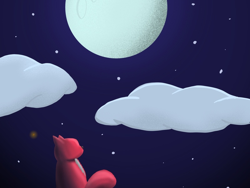 Cat And Moon Illustration colors vector moon cats cat design illustration