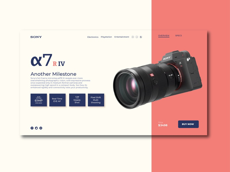 Sony A7iv Landing Page ui  ux sony camera graphicdesign userinterface ux ui