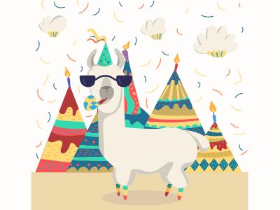 Birthday Llama Celebration Vector Illustration Cake Clouds Cupcake