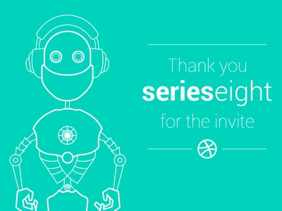 Thank You Series Eight vector illustration line drawing dribbble invite robot