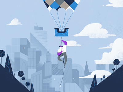 up, up we go! illustration character blue city cityscape clouds flight