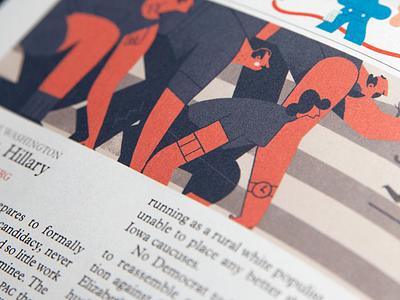 Start 'em up illustration editorial character color orange politics
