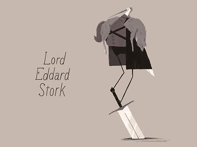 Never Forget: Lord Eddard Stork stuff dragons swords bird illustration bad puns character design game of thrones