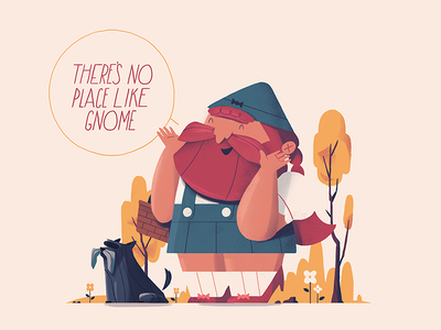 There's no place like Gnome foliage dorothy toto oz character illustration bad puns