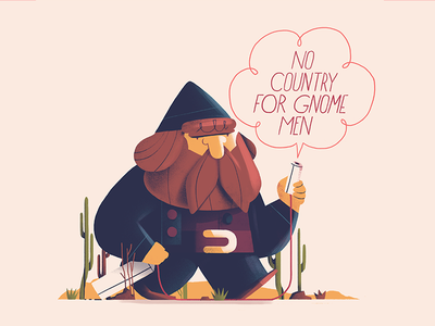 No Country for Gnome Men sweet surprise dessert desert movies character illustration bad puns