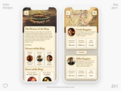 Daily Designs in Quarantine #011 magic app appdesign design skeumorphic gold ring ring of power gandalf hobbiton hobbit bilbo sauron lotr lordoftherings illustration covid19 coronavirus ux ui