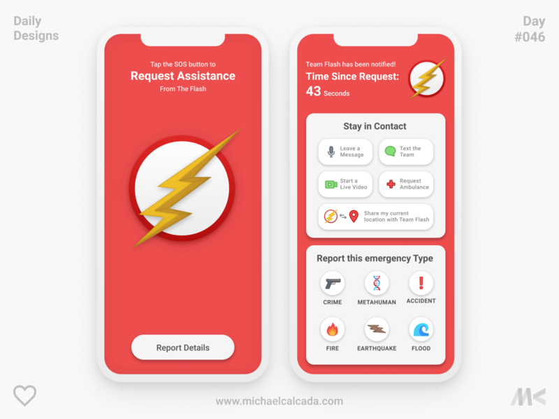 Daily Designs in Quarantine #046 help relief disaster earthquake lightning flash message warning alarm superhero cw team flash barry allen flash the flash app design coronavirus covid19 ux ui
