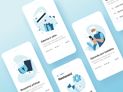 Erste Mobile Bank - Walkthrough mobile app mobile app walkthrough blue illustration ui ux ios financial bank erste