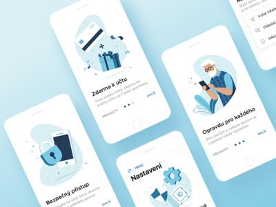 Erste Mobile Bank - Walkthrough mobile app mobile app walkthrough blue illustration ui ux ios financial bank erste
