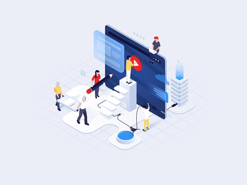 Isometric illustration for a video streaming platform madesense website video app platform streaming illustraion isometric digital product