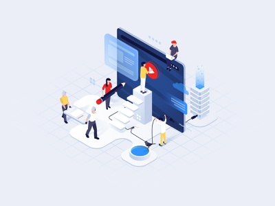 Isometric illustration for a video streaming platform madesense website video app platform streaming illustraion isometric digital product