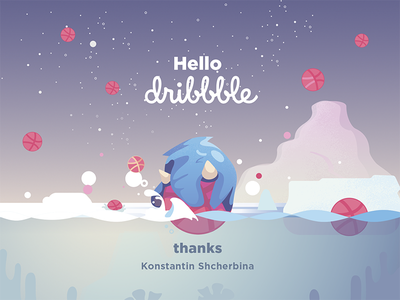 Hello Dribbble! dribbble debut invitation invite thanks firstshot debutshot illustration thank you