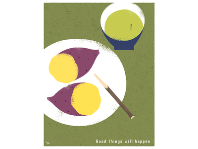 Good things will happen good luck tea stalk design illustration