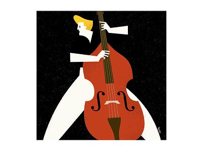 Rockabilly Bass graphic design illustration