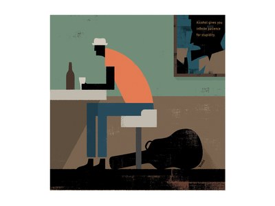 Drinking alone graphic design illustration