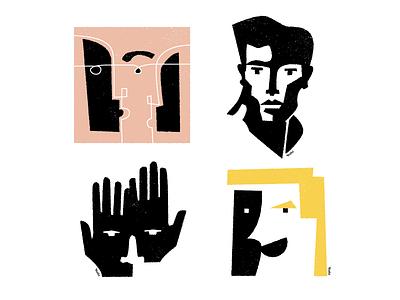 Faces graphic design illustration